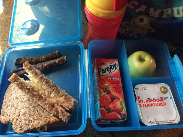 The improved lunchbox with homebaked bread. My son says it tastes old. He's missing the moistness of cal prop!