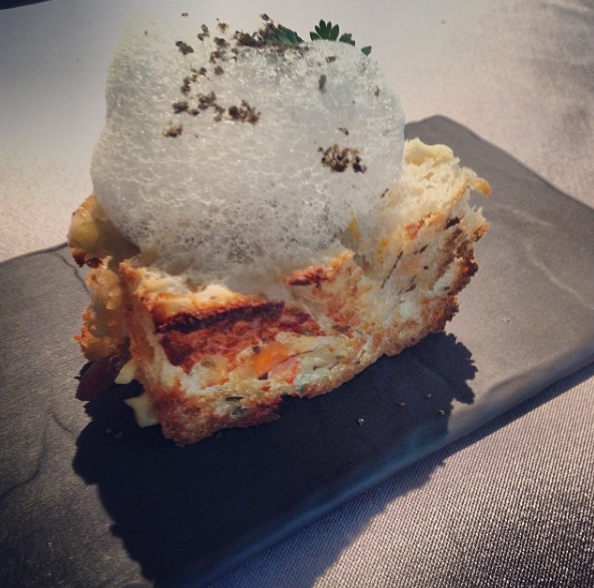 Herbed Parmesan pan con tomate with anchovy and anchovy foam