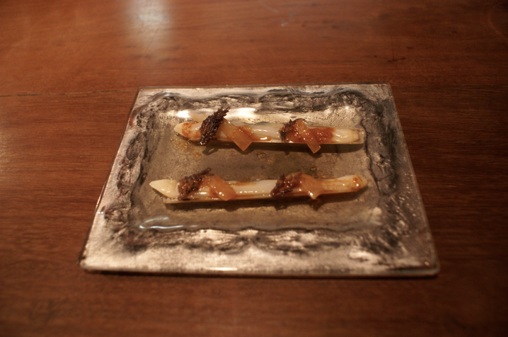 Razor clams at Dos Palillos, Japanese tapas bar by ex ElBulli headchef, Albert Raurich