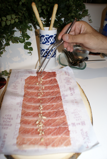 Paper thin slices of tuna belly, rubbed with jamón ibérico fat.